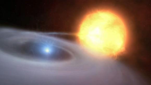 Illustration of a white dwarf feeding off its companion star Credit: ESO / M. Kornmesser