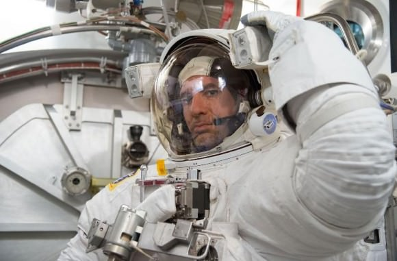 Italian astronaut Luca Parmitano during a spacesuit fit check before his mission. Credit: NASA