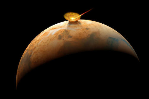 An asteroid impacts ancient Mars and send rocks hurtling to space - some reach Earth