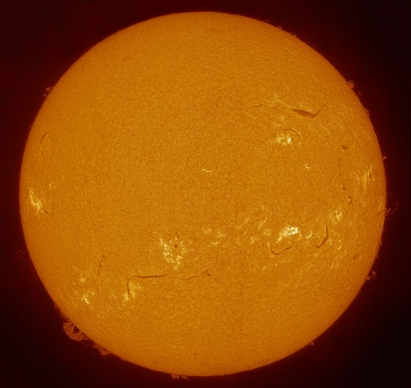 Full disk view of the Sun on August 20, 2013. The 'small' prominences on the right side of the Sun in this image are the ones captured in the closeup image above -- not the bigger prominences on the left side. Credit and copyright: Michel Collart.