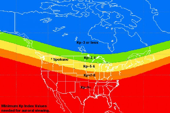 This map gives you an idea of what the Kp index has to register for an aurora to be visible in U.S. and Canadian locations. Credit: NOAA