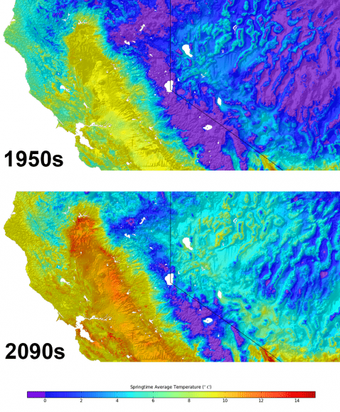 On this map of Nevada - northern California are superimposed graphics representing the average temperatures in the 1950s (top) and projected temperatures for the 2090s. Credit: NASA