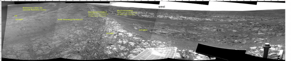 In the above Navcam panorama acquired on mid-morning on September 18 (sol 3431), you can see the contact between the younger Burns Formation sulfate-rich sands on the right and the older rocks of Endeavour crater on the left. We will probably follow this contact for ways to the south before starting the climb next week. Caption and Credit: NASA/JPL/Larry Crumpler
