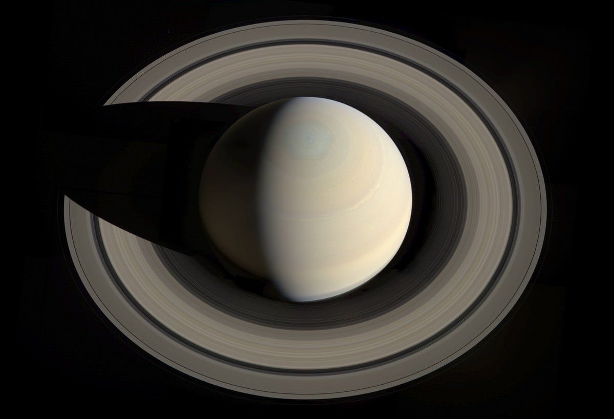 Saturn and its rings, as seen from above the planet by the Cassini spacecraft. Credit: NASA/JPL/Space Science Institute. Assembled by Gordan Ugarkovic.