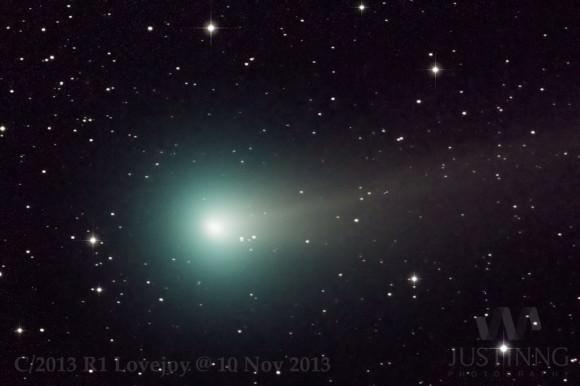 Comet R1 Lovejoy imaged on November 10th by astrophtographer Justin Ng. (Credit: Justin Ng).