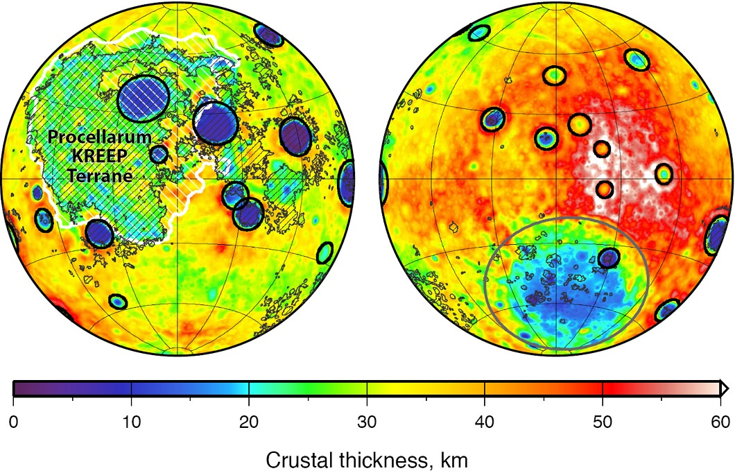 The thickness of the moon's crust as calculated by NASA's GRAIL mission. The near side is on the left-hand side of the picture, and the far side on the right. Credit: NASA/JPL-Caltech/S. Miljkovic