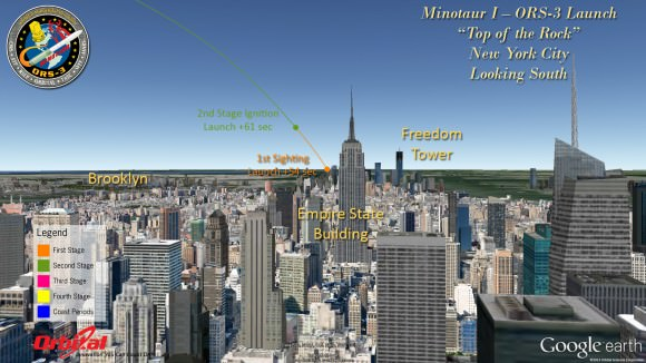 Minotaur 1 launch trajectory map for Rockefeller Center N.Y.C.