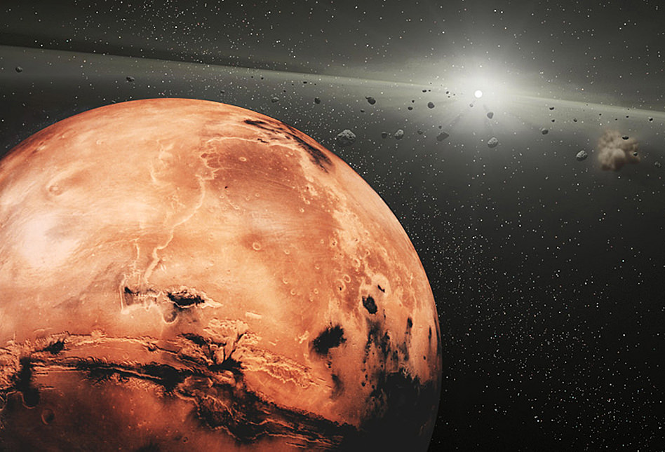 Artist's conception of Mars, with asteroids nearby. Credit: NASA