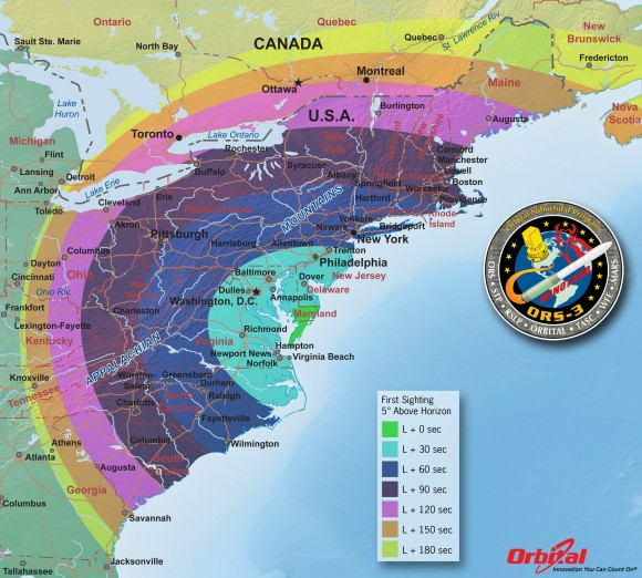 A map showing where the launch will be on the East Coast on Nov. 19, 2013. Credit: Orbital Sciences Corporation.