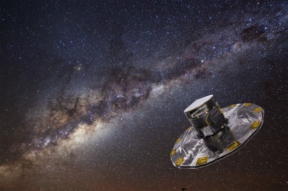 Gaia will make an accurate map of the stars within the Milky Way from its location at L2 (ESA/ATG medialab; background: ESO/S. Brunier)