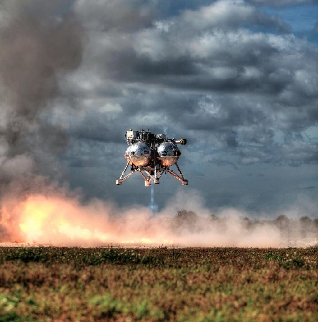 NASA's Morpheus Project -- a prototype for vertical landing and takeoff for other planets -- during a free flight test Dec. 10, 2013. Credit: NASA (@MorpheusLander Twitter feed)