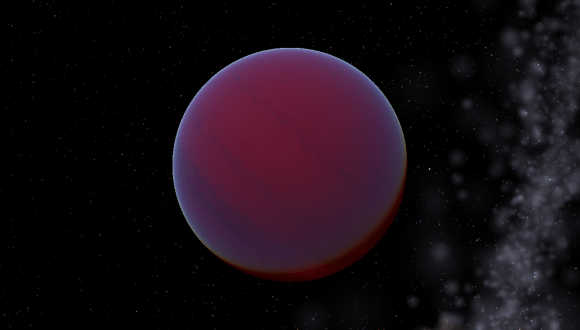 T-type brown dwarf planet with a purple tinge floating in space