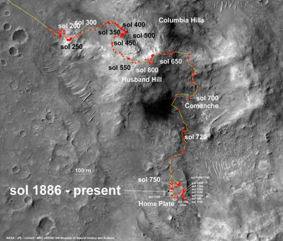 Spirit Rover traverse map from Husband Hill to resting place at Home Plate: 2004 to 2011
