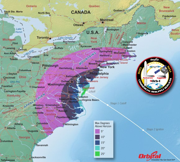 Antares Launch from Virginia– Maximum Elevation Map  The Antares daytime launch will be visible to millions of spectators across a wide area of the Eastern US -weather permitting. This map shows the maximum elevation (degrees above the horizon) that the Antares rocket will reach during the Jan 7, 2014 launch depending on your location along the US east coast. Credit: Orbital Sciences