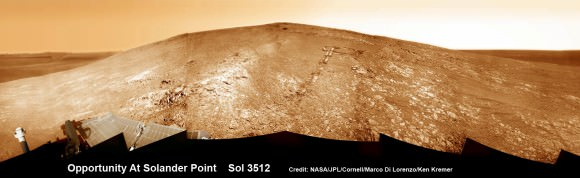 "Opportunity by Solander Point peak – 2nd Mars Decade Starts here!  NASA's Opportunity rover captured this panoramic mosaic on Dec. 10, 2013 (Sol 3512) near the summit of ""Solander Point"" on the western rim of Endeavour Crater where she starts Decade 2 on the Red Planet. She is currently investigating outcrops of potential clay minerals formed in liquid water on her 1st mountain climbing adventure. Assembled from Sol 3512 navcam raw images. Credit: NASA/JPL/Cornell/Marco Di Lorenzo/Ken Kremer-kenkremer.com"