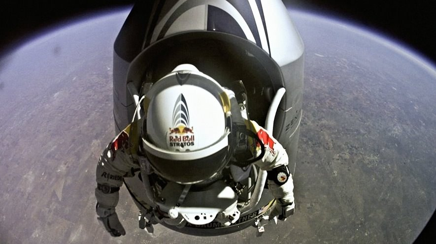 Felix Baumgartner about to step out of his pressurized capsule on October 14, 2012 (Credit: Red Bull)