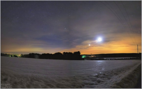 The Moon approaching Venus on February 25th as seen from Carbon County, Pennsylvania. Credit: Tom Wildoner.