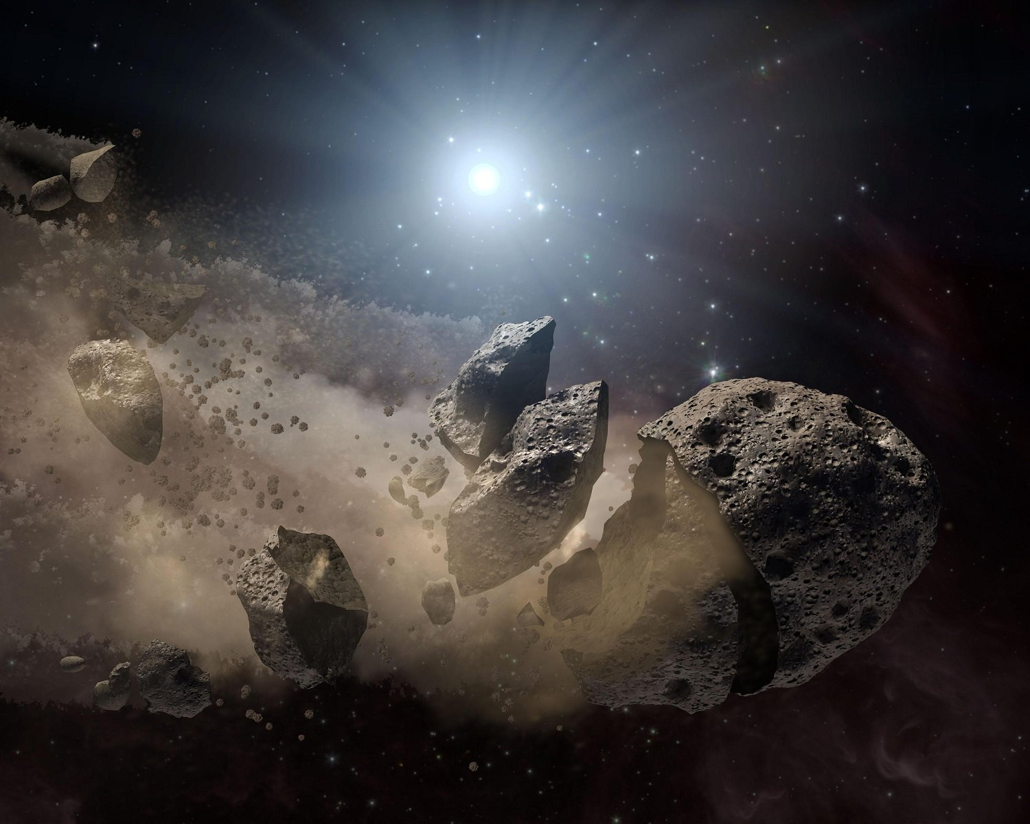 Artist's impression of an asteroid breaking up. Credit: NASA/JPL-Caltech
