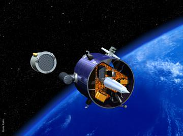 An artist's conception of NASA's Lunar Prospector mission leaving Earth orbit. Credit: NASA.