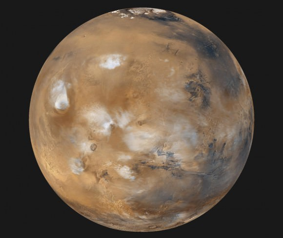 Mars, as photographed with the Mars Global Surveyor, is identified with the Roman god of war. Credit: NASA