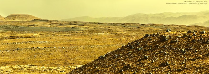 A post-processed mosaic of MSL Mastcam images from Sol 582 (NASA/JPL-Caltech/MSSS. Edit by Jason Major)