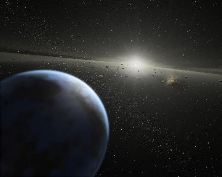 Artist's impression of a massive asteroid belt in orbit around a star. Earth's water may not have all come from asteroids and comets, so maybe that's true for exoplanets. Credit: NASA-JPL / Caltech / T. Pyle (SSC)
