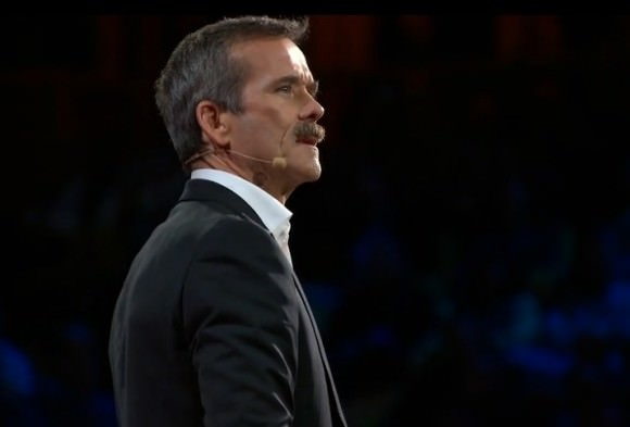 Retired Canadian astronaut Chris Hadfield at a TED talk near Vancouver, British Columbia in 2014. Credit: TED/Sapling Foundation (screenshot)