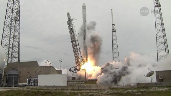 The SpaceX Falcon 9 rocket launches from the Cape Canaveral Air Force Station in Florida on April18, 2014.   Credit:   NASA TV