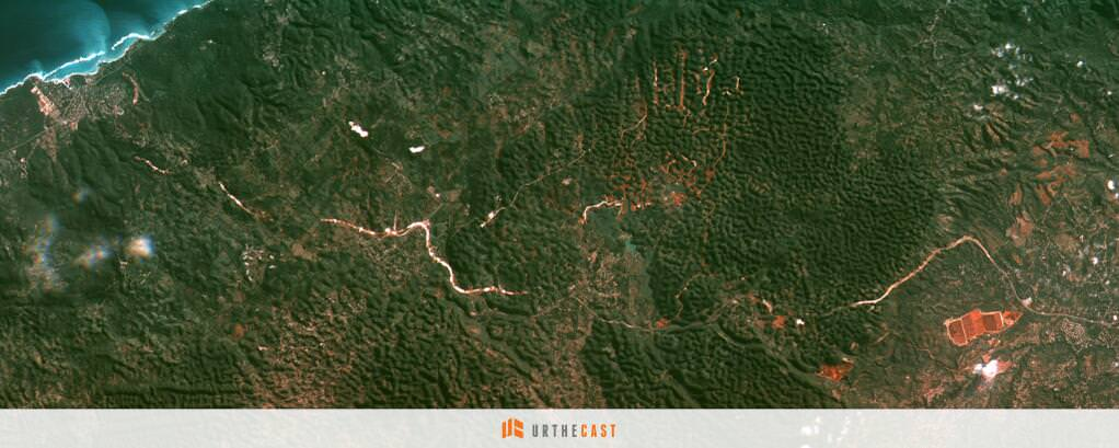 One of the first pictures released from UrtheCast in April 2014 showed several hundred square miles around Moneague, Jamaica. Credit: UrtheCast