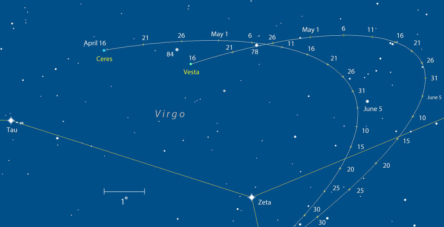 This map shows the paths of Ceres and Vesta in Virgo through late June at five-day intervals. Vesta is currently magnitude +5.8 and Ceres 7.0. Both are easily visible in binoculars from suburban and rural skies. A wide view map below will help you navigate from nearby bright Mars to Zeta Virginis. From Zeta, star hop to either asteroid. Stars are shown to about magnitude +8.5. Click to enlarge. Created with Chris Marriott's SkyMap software