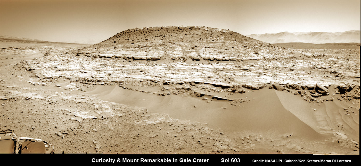 Curiosity's Panoramic view of Mount Remarkable at 'The Kimberley Waypoint' where rover conducted 3rd drilling campaign inside Gale Crater on Mars. The navcam raw images were taken on Sol 603, April 17, 2014, stitched and colorized. Credit: NASA/JPL-Caltech/Ken Kremer – kenkremer.com/Marco Di Lorenzo.  Featured on APOD - Astronomy Picture of the Day on May 7, 2014