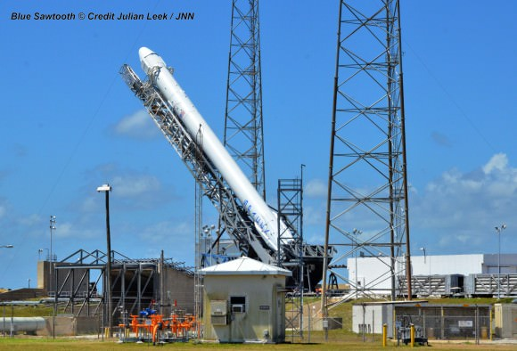 SpaceX Falcon 9 rocket preparing for April 18, 2014 liftoff from Space Launch Complex 40 at the Cape Canaveral Air Force Station, Fla.  Credit: Julian Leek