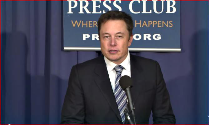 SpaceX CEO Elon Musk announces lawsuit protesting Air Force launch contracts while speaking at the National Press Club in Washington, DC on April 25, 2014