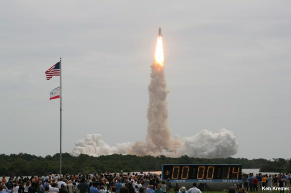 NASA's 135th and final shuttle mission takes flight on July 8, 2011 at 11:29 a.m. from the Kennedy Space Center in Florida bound for the ISS and the high frontier. Credit: Ken Kremer/kenkremer.com