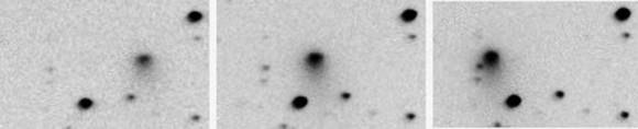 Discovery images of Comet Jacques by the SONEAR team show a small, condensed object with a short, faint tail. Credit: SONEAR