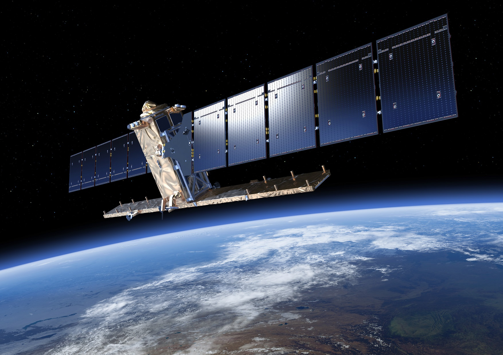 Artist's conception of Sentinel-1, an environment-monitoring satellite from the European Space Agency. Credit: ESA/ATG medialab