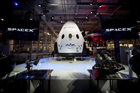 Dragon V2, SpaceX's next generation spacecraft designed to carry astronauts to space is unveiled by CEO Elon Musk on May 29, 2014. Credit: SpaceX