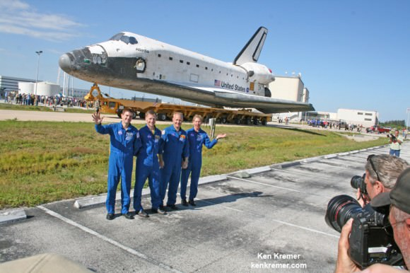 NASA's final shuttle crew on STS-135 mission greets the media and shuttle workers during Atlantis rollover from the OPF-1 processing hanger to the VAB at KSC during May 2011.   From left: Rex Walheim, Shuttle Commander Christopher Ferguson, Douglas Hurley and Sandra Magnus. The all veteran crew delivered the Raffaello multipurpose logistics module (MPLM), science supplies, provisions and space parts to the International Space Station (ISS). Credit: Ken Kremer - kenkremer.com