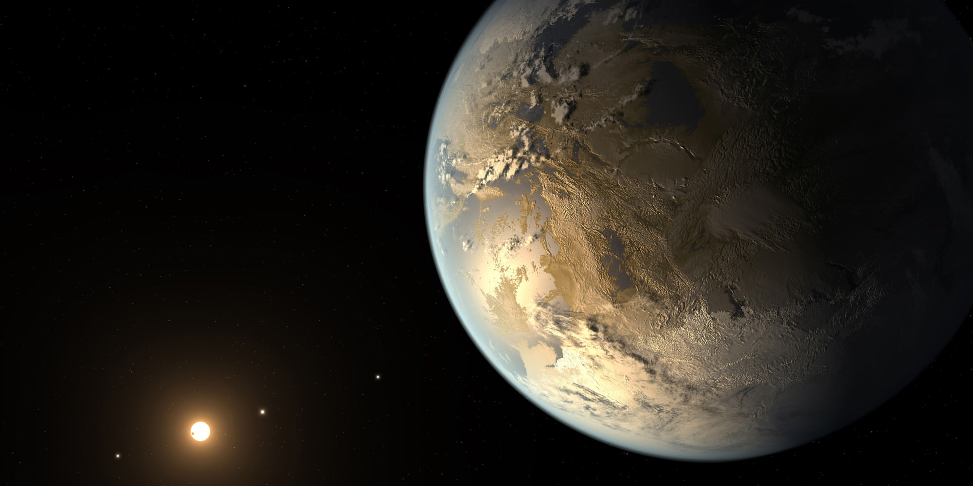 Illustration of Kepler-186f, a recently-discovered, possibly Earthlike exoplanet that could be a host to life. (NASA Ames, SETI Institute, JPL-Caltech, T. Pyle)