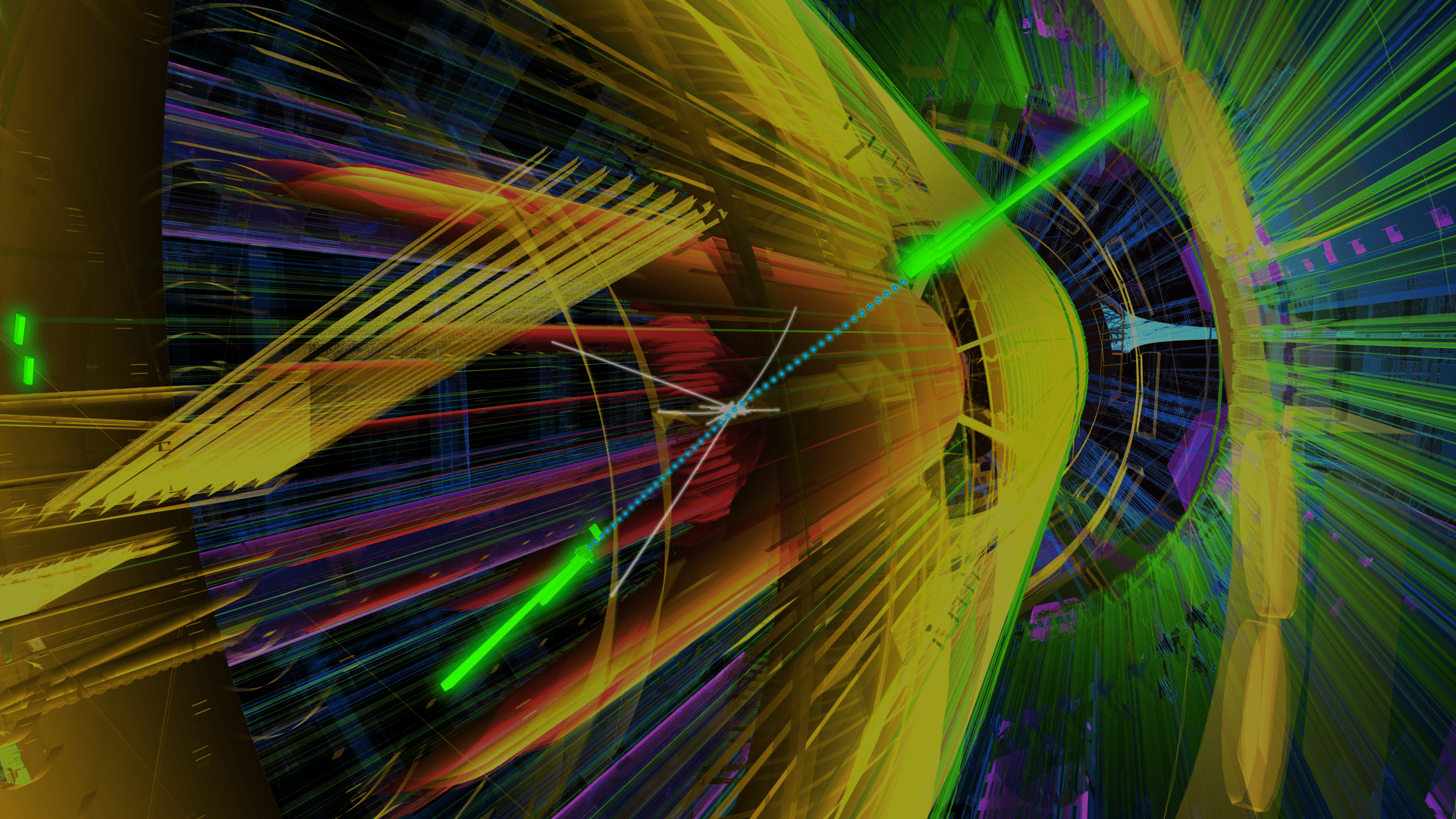 This artist's conception shows two photons (in green) colliding. Image Credit: ATLAS / LHC