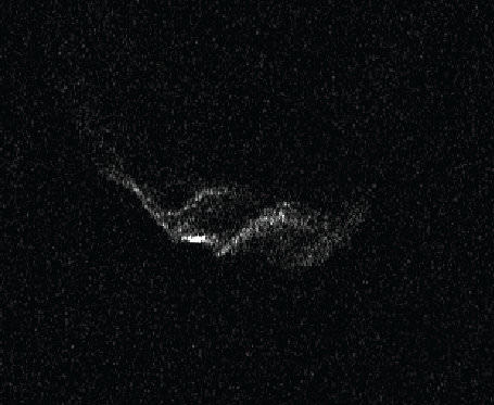 "Radar images of Comet 209P/LINEAR taken from May 23 through May 27, 2014. The Earth is at the bottom of these images: the ""side view"" is a result of the radar imaging method. Several features are visible on the comet, perhaps ridges or cliffs. This is only the fifth comet nucleus imaged by Arecibo in the last 16 years, and the most detailed. Resolution in the vertical direction is 7.5 meters (25 feet) per pixel.  Image credit: Arecibo Observatory/NASA/Ellen Howell."