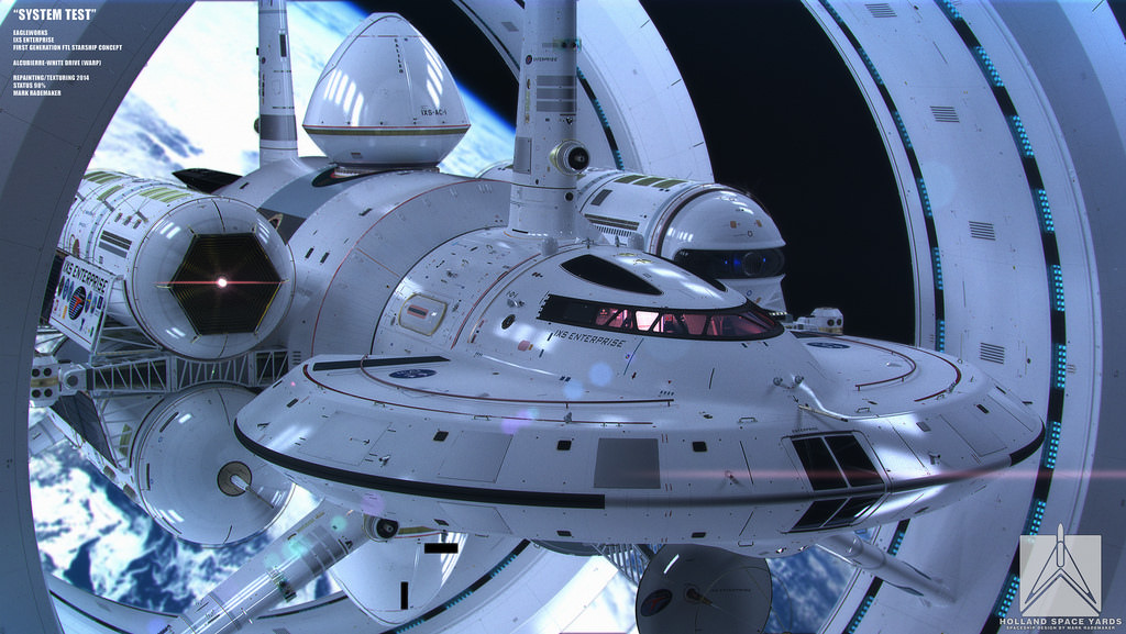 Artist's impression of the IXS Enterprise, a warp ship. Credit: Mark Rademaker