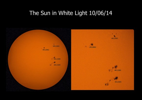 The Sun in white light on June 10, 2014. Taken with a William Optics 70mm refractor fitted with a Thousand Oaks solar filter, 2 x Barlow and Canon 1100D. Credit and copyright: Mary Spicer.