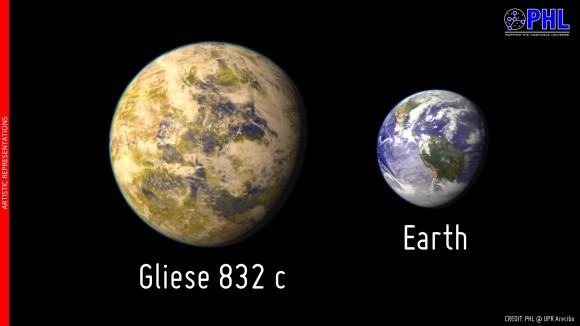 Artistic representation of the potentially habitable exoplanet Gliese 832 c as compared with Earth. Gliese 832 c is represented here as a temperate world covered in clouds. The relative size of the planet in the figure assumes a rocky composition but could be larger for a ice/gas composition. Credit: Planetary Habitability Laboratory.