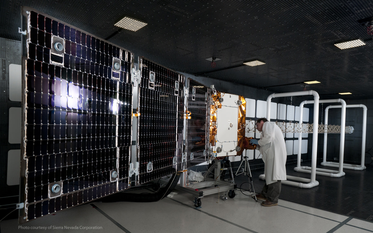 An ORBCOMM OG-2 satellite undergoes testing prior to launch. Credit: Sierra Nevada Corp