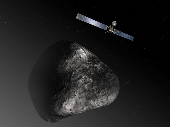 Rosetta flies above Comet 67P/Churyumov–Gerasimenko in this 2013 artist's impression. Credit: ESA–C. Carreau/ATG medialab