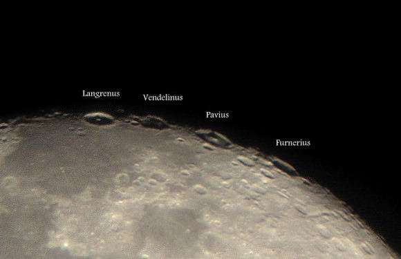A closeup of four craters that appear on the limb of the Moon. Credit and copyright: Roshaan Bukhari.