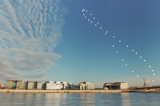 An analemma of the Sun, taken from Budapest, Hungary over a one year span. (Courtesy of György Soponyai, used with permission).