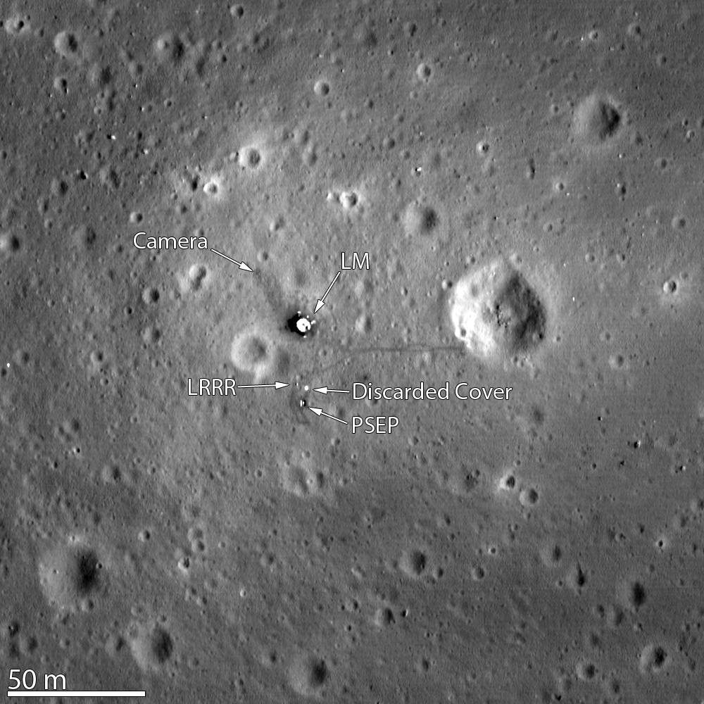 The Apollo 11 landing site imaged by the Lunar Reconnaissance Orbiter's camera in 2012. Visible is the LM (lunar module), Lunar Laser Ranging RetroReflector (LRRR), its discarded cover and the Passive Seismic Experiment Package (PSEP). The image was taken from 15 miles (24 kilometers) above the surface. Credit: NASA/GSFC/Arizona State University
