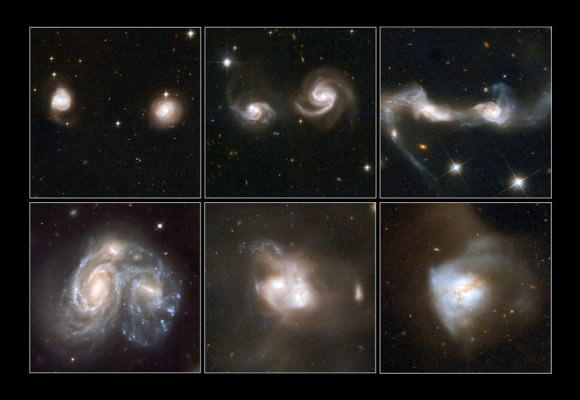 A few examples of merging galaxies. NASA, ESA, the Hubble Heritage Team (STScI/AURA)-ESA/Hubble Collaboration and A. Evans (University of Virginia, Charlottesville/NRAO/Stony Brook University), K. Noll (STScI), and J. Westphal (Caltech)